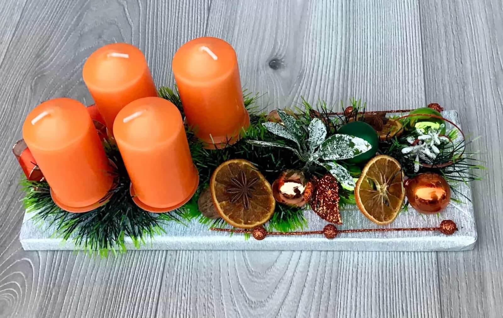 Adventní svícen oranžový